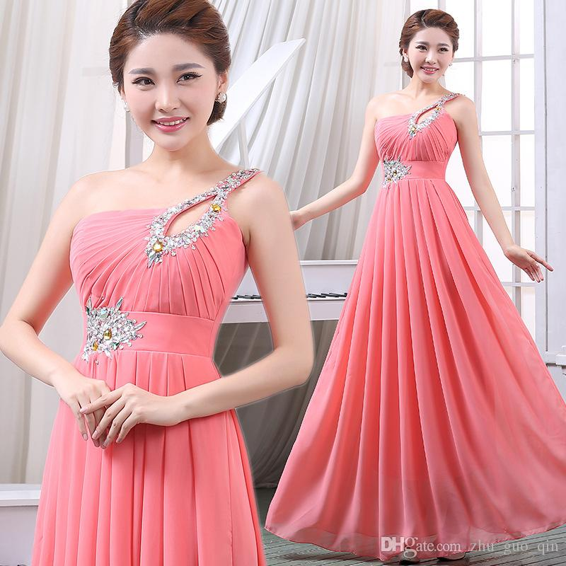 d0d46826cc26 Fashion One Shoulder Bridesmaid Dresses Sequin And Beaded A Line Long  Custom Made Prom Evening Gowns Formal Gowns Cheap Full Length Evening  Dresses From ...