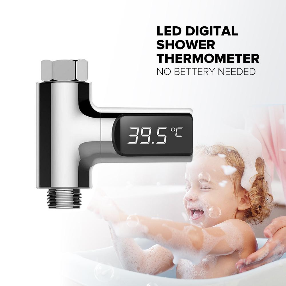 LED Display Water Shower Thermometer Self-Generating Electricity Water Temperature Monitor Energy Smart Meter for Baby Care