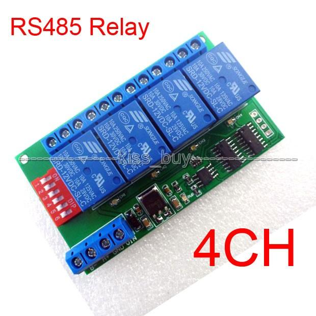 Freeshipping 4 Channel DC 12V RS485 Relay Module Modbus RTU & AT Command  Remote Control Switch for PLC PTZ Camera Security Monitoring