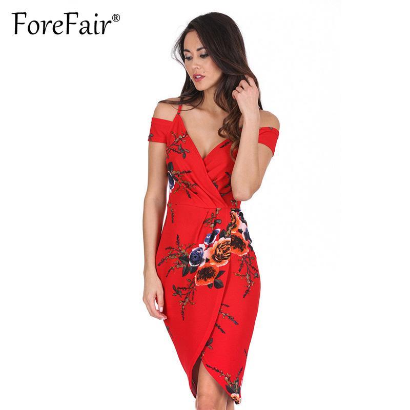 a6b1ec3a07f 2019 Forefair Women Wrap Dress Floral Print Red Summer Dress Off Shoulder  Short Sleeve V Neck Spaghetti Strap Midi Party Dresses From Xiamen2013