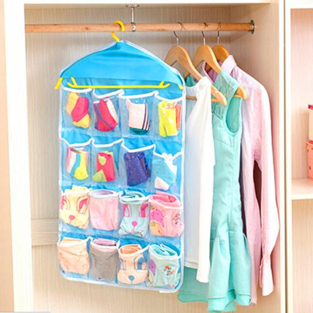 16 Pockets Practical Underwear Cosmetics Hanger Organizer Wall Wardrobe Hanging Organizer Sundries Jewelry Storage Bags