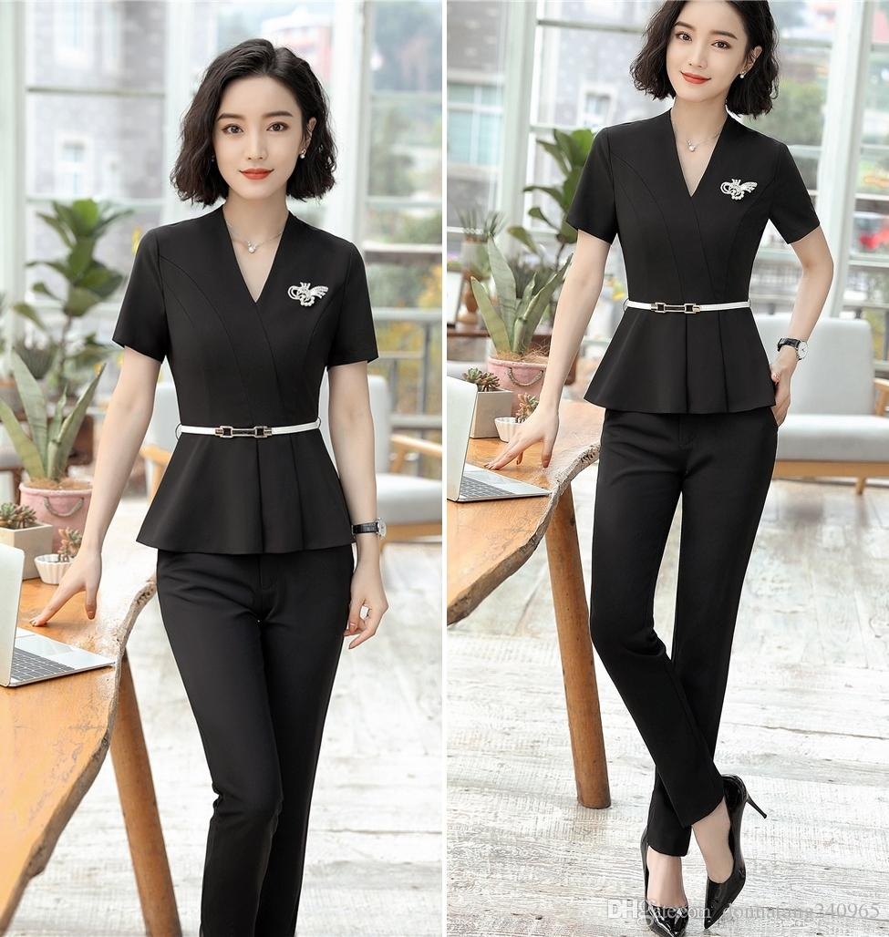9207e382814 2019 Blazer Jacket+ Long Pant Summer Short Sleeve Suit Set Hotel Work  Clothes Formal Uniform Female Business Elegant Brazer Trousers Suits From  ...