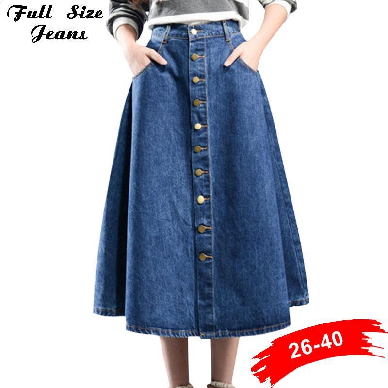 6f8b80598ac 2019 Plus Size Xxs To 7Xl Button Down Pleated Jeans Skirts Women Fashion A  Line High Waist Knee Length Oversized Girls Denim Skirts From Xiatian7