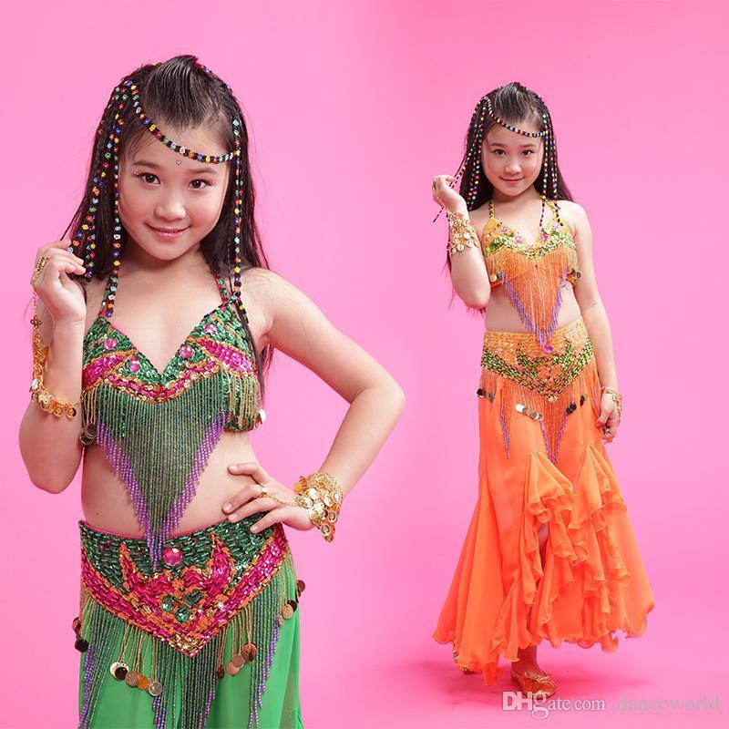 2018 Kızlar / Çocuklar / Çocuklar Hint Oryantal Dans Kostümleri 3 adet Sutyen + Elbise + Bel Sızdırmazlık Oryantal Dans M / L / XL Ücretsiz Kargo Kız Oryantal Giyim