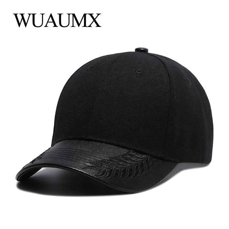 Wholesale High Quality Summer Hats For Women Black Baseball Cap Men PU  Leather Brim Bone Snapback Hip Hop Cap For Men Casquette Online with   25.87 Piece on ... 90ec73a8a2d