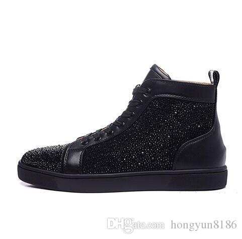 cbe38d54f82 High Quality Gold Rhinestone Strass Red Sole Men Women Shoes Suede ...