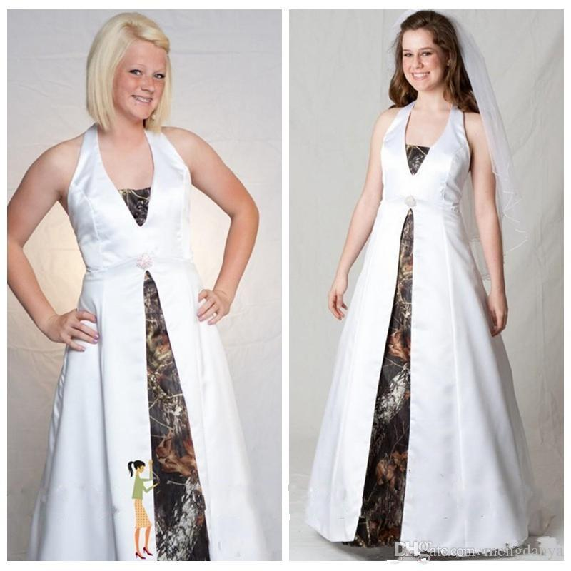 bccbc307a7a29 Discount Customized Halter Camo A Line Wedding Dresses Plus Size Camouflage  Bridal Gowns Lace Up Back Satin Cheap Sale E33 A Line Wedding Dresses With  ...
