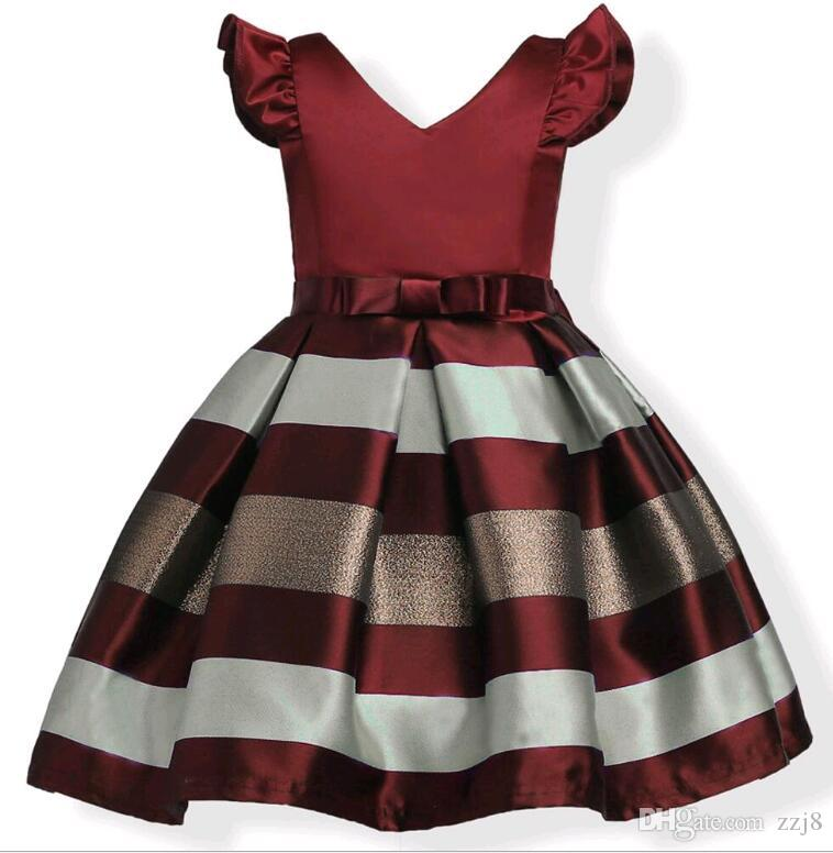 Maniche a sbuffo di moda Mescolare abito da festa in jacquard a righe di colore ragazze Raso da sposa Europa e abiti da principessa americana adatti bambini di 3-10 anni