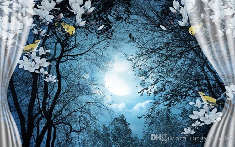 3D Wandbild Tapeten Naturlandschaft Friedliche Nacht Wald Mond Benutzerdefinierte 3D-Raum Landschaft Fototapete Fenster Ansicht Schlafzimmer