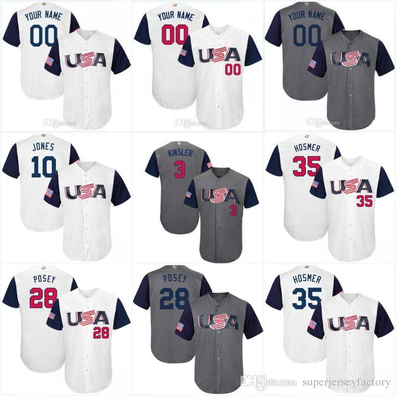 020cbf3c2de 2019 Men 28 Buster Posey 2017 World Baseball Classic Jerseys Team USA 35  Hosmer 27 GiancarloStanton 10 Adam Jones 13 Carpenter 12 Arenado From ...