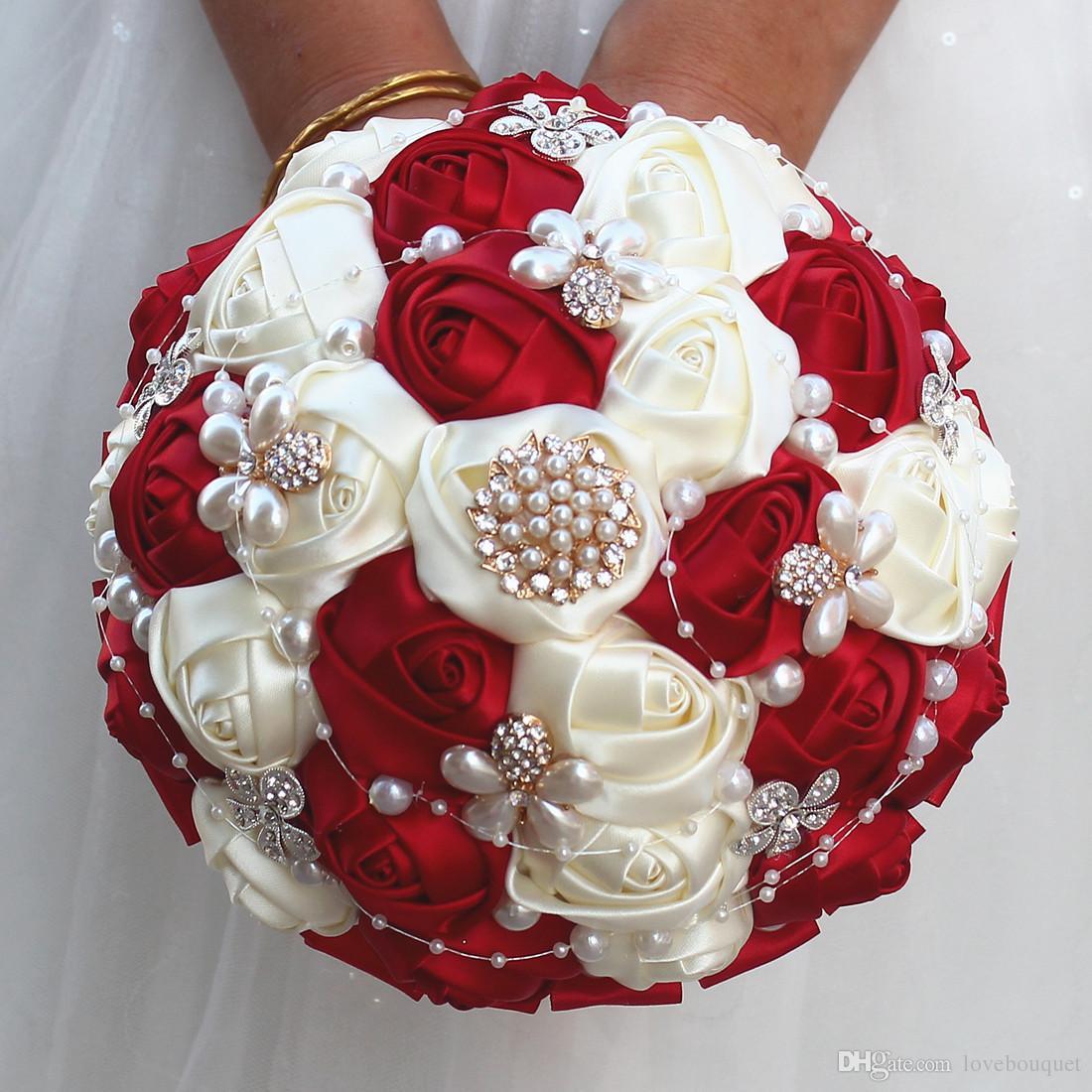 Acheter 18cm Rose Rouge Soie Rose Bouquet De Mariage Strass Perle Bouquet De Mariee Ruban Blanc Mariage Bouquet De Demoiselle D Honneur De 30 16 Du