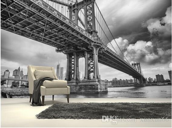 사용자 지정 흑백 사진 벽지, 뉴욕 다리, 소파 주방에 대 한 큰 3d 벽화 카페 tv 배경 비닐 벽지