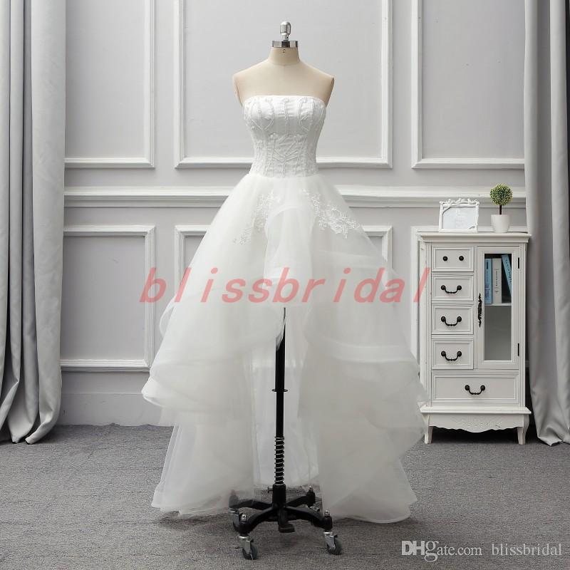 High Low White Tüll Prom Kleider Rüschen Tiered Long Tutu Brautkleider Stickerei Applique Liebsten Vestido De Noiva Homecoming Dress