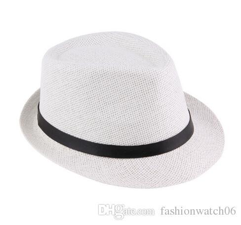 Leisure Unisex Beach Staw Sun Hats Stylish Women Men Panama Jazz ... e3281006bfe8