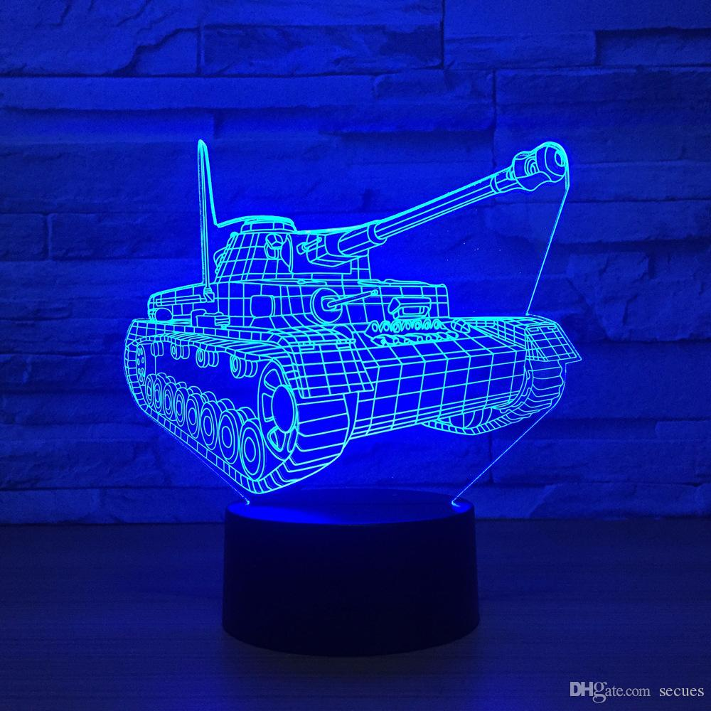 3D Tank Optical Illusion Lamp Night Light DC 5V USB Powered 5th Battery Wholesale Dropshipping Free Shippin