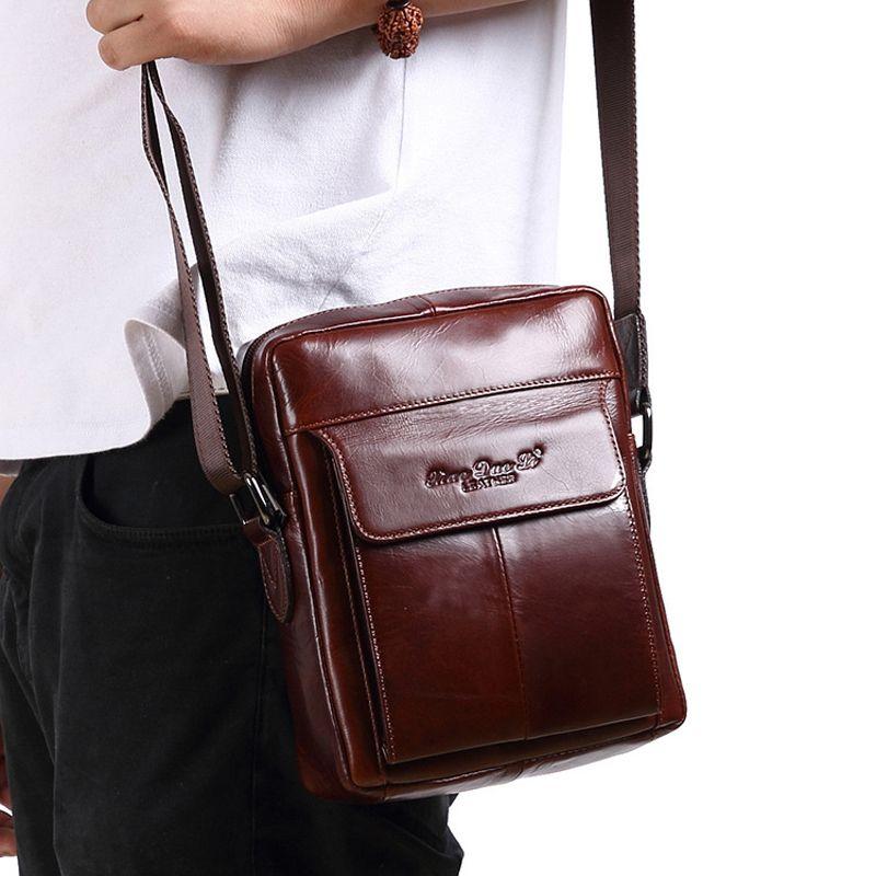 Crossbody-taschen Vintage Männer Echte Leder Hüfttasche Lässig Crossbody Taschen Reißverschluss Umhängetaschen