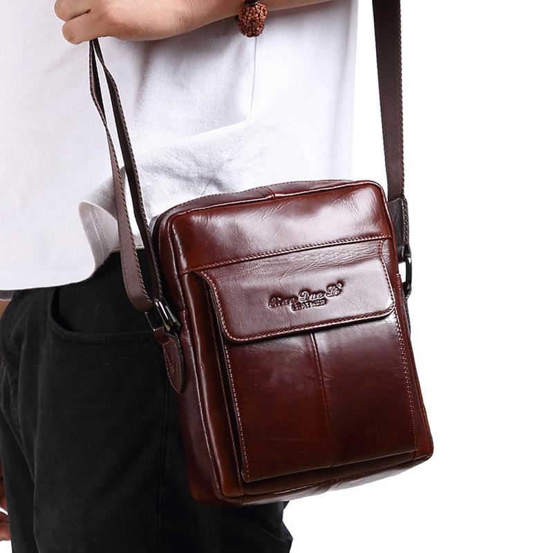 5bbf518f15eb New Vintage Genuine Leather Crossbody Bags For Men Messenger Bag Casual Shoulder  Bag Male 7.9inch IPad Mini Handbags Travel Bags Cross Body Purse Hobo ...