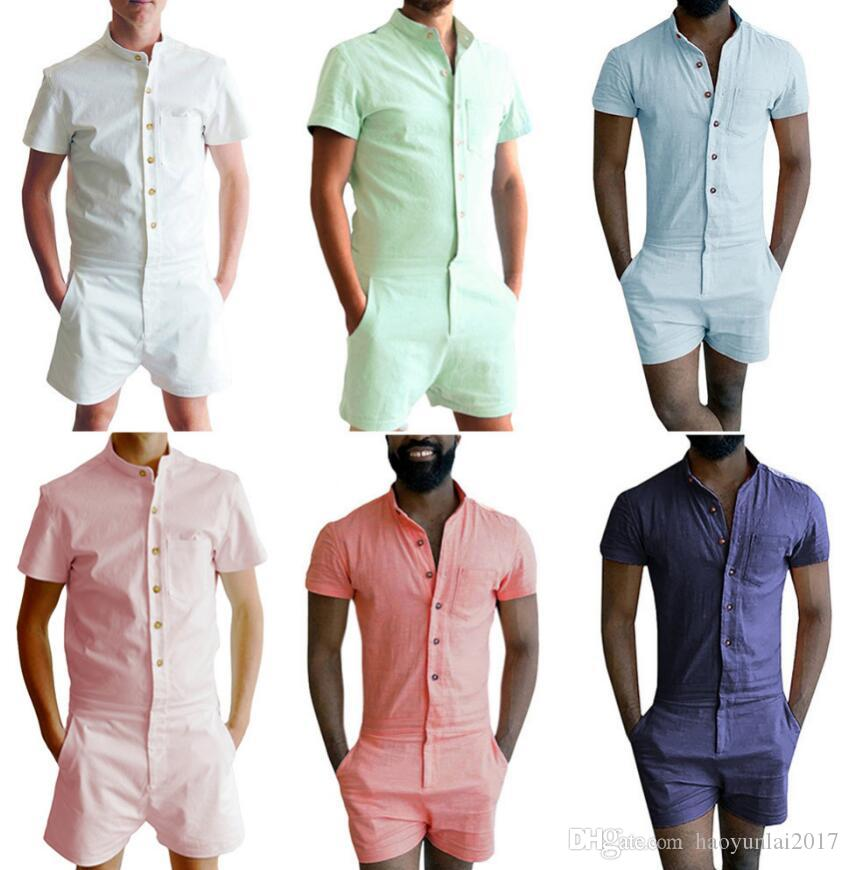 1557b63623b6 2019 Summer Short Sleeve Men S Rompers Male Single Breasted Jumpsuit Cargo  Short Pants Boyfriend Zip Trousers Party Overalls From Haoyunlai2017