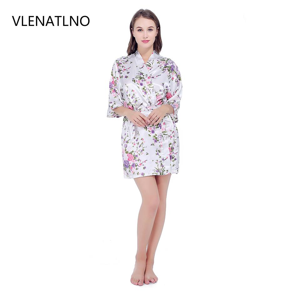 e604f51f93 VLENATLNO short robe Sexy Satin Night Robe Lace Bathrobe Perfect Wedding  Bride Bridesmaid Robes Dressing Gown For Women S1011