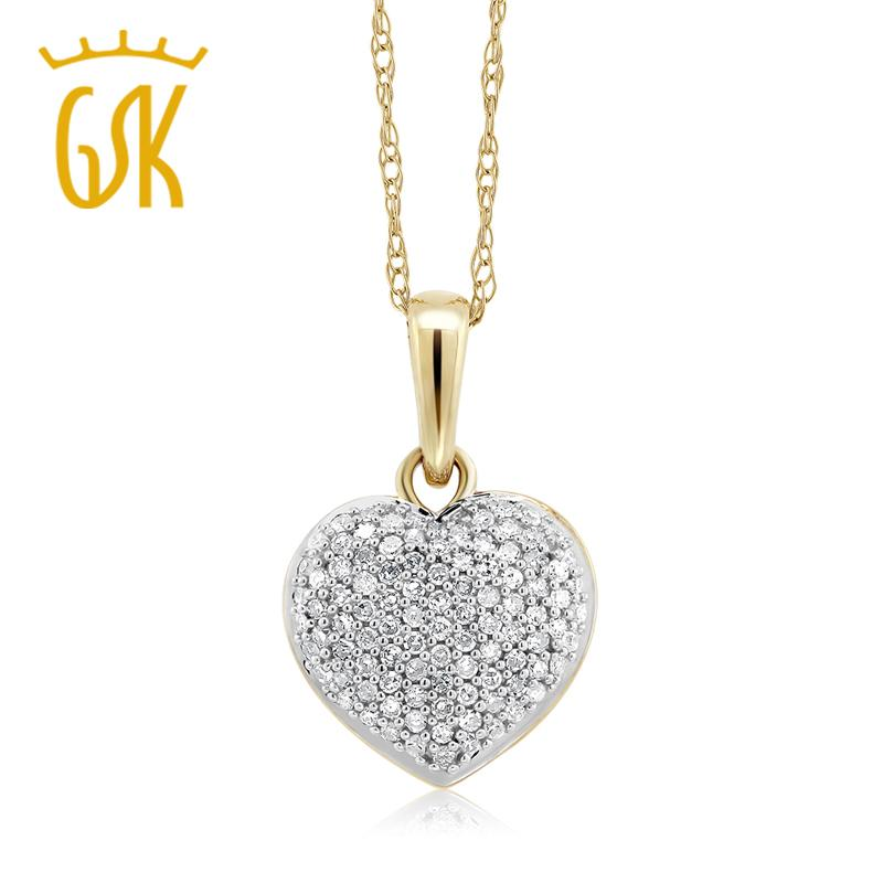 GemStoneKing 10K bicolore 0.15 CTW diamante bianco 10mm a forma di cuore collana con pendente 10K catena d'oro per le donne