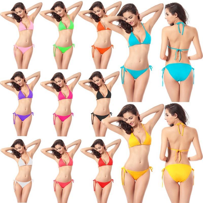 283ea8dc36 Women Sexy Bikini Candy Color Swimwear Summer Solid Beachwear Push Up  Bikini Set Padded Beach Bras Swimsuit Bathing Suits Solid Beachwear Sexy  Bikini ...
