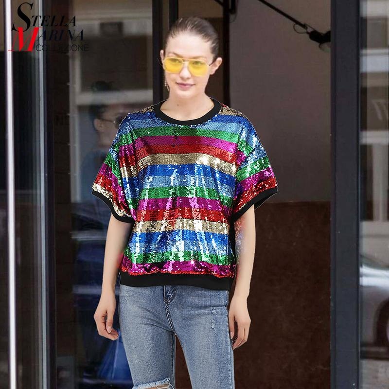 2018 Summer Women Multicolor Sequined Tee Tops Colorful Stripes T Shirt  Short Sleeve Girls Special Unique Wear T Shit Style 3317 Online Shopping Tee  Shirts ... 2c0c1879a9ad