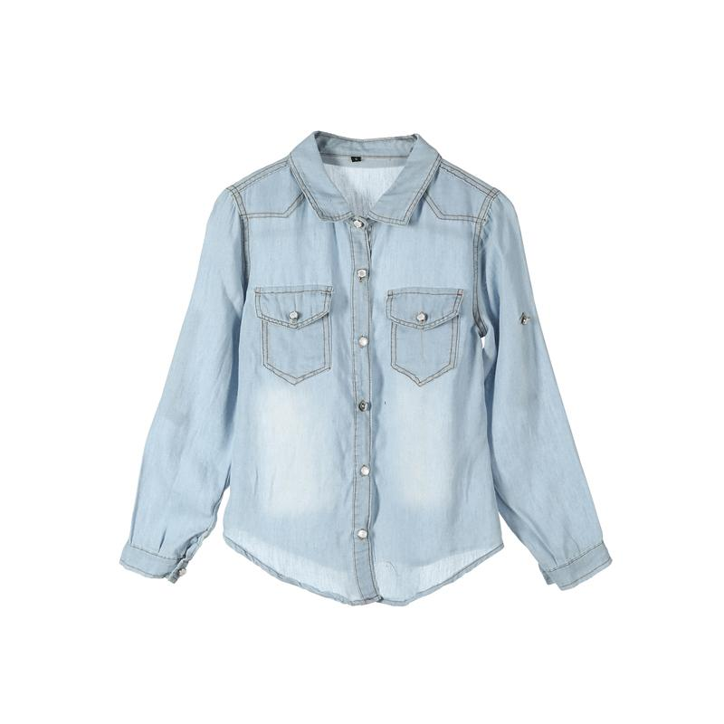3378ffa8e2464 2019 Fashion Causal Newly Women Denim Shirts 2 Style Long Sleeve Turn-Down  Sleeve Button Pocket Slim Blue Shirts Online with  32.45 Piece on Your10 s  Store ...