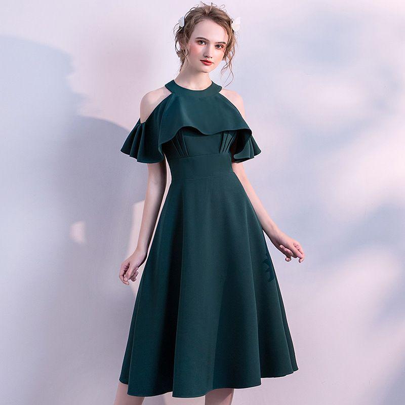 83c5e19566071 Satın Al Koyu Yeşil Mezuniyet Elbiseleri Halter Zarif Özel Durum Elbise  Genç Kokteyl Parti Törenlerinde Fermuar Geri Diz Boyu Resmi Giyim, $65.88    DHgate.