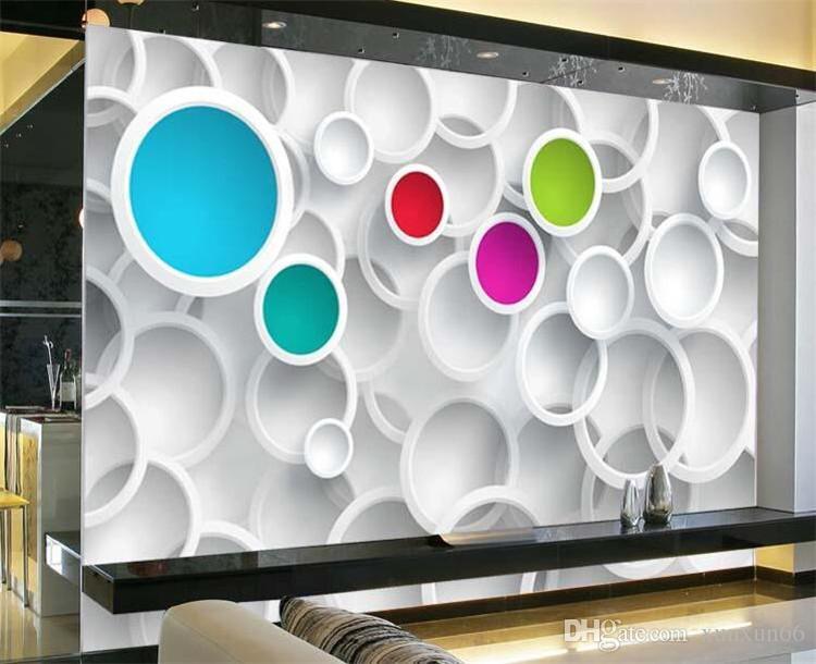 Moderno papel de parede 3d personalizado foto papel de parede colorido círculos mural da parede quarto decoração sala de estar quarto decoração de casa navio livre