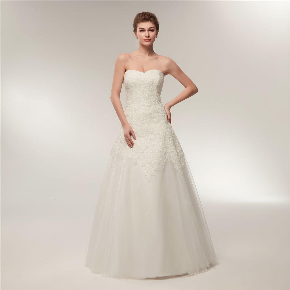 Elegant 2018 Wedding Dresses Strapless Plus Size Lace Wedding Gowns ...