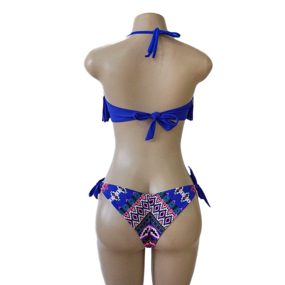 2018 New Sexy Lady Blue Fringe Tassel Floral Bandeau Biquini Beach Swimsuit Swim Wear Bathing Suit Swimwear Women Push Up Brazilian Bikini