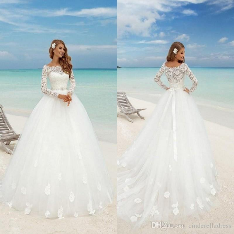 Discount Modest White A Line Country Beach Wedding Dresses 2018 Lace ...