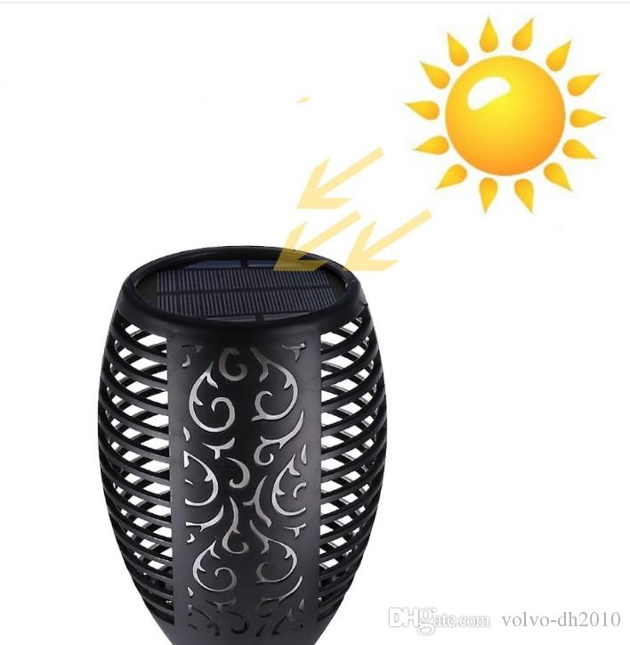 Solar Lamp Garden Waterproof 96 LEDs Tiki Torch Light Outdoor Courtyard Solar Energy Dancing Flame Flickering Decoration Lamps LLFA
