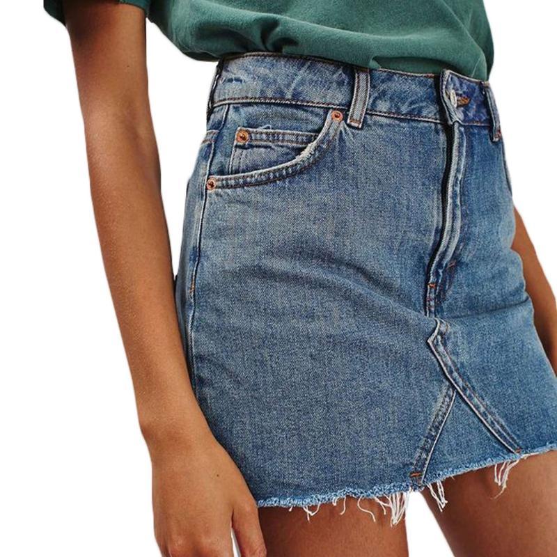5eac36b1d Compre Moda Verano Denim Falda Corta Jeans Mujeres Bolsillos De Cintura  Alta Botón Faldas Femeninas Nueva Casual Sexy Slim A Line Faldas 2018 A   24.17 Del ...