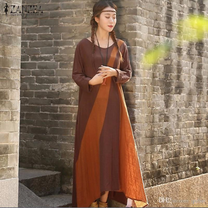 Wholesale- Fashion 2016 Autumn ZANZEA Women Cotton Dress Causal ... d2e737bcc