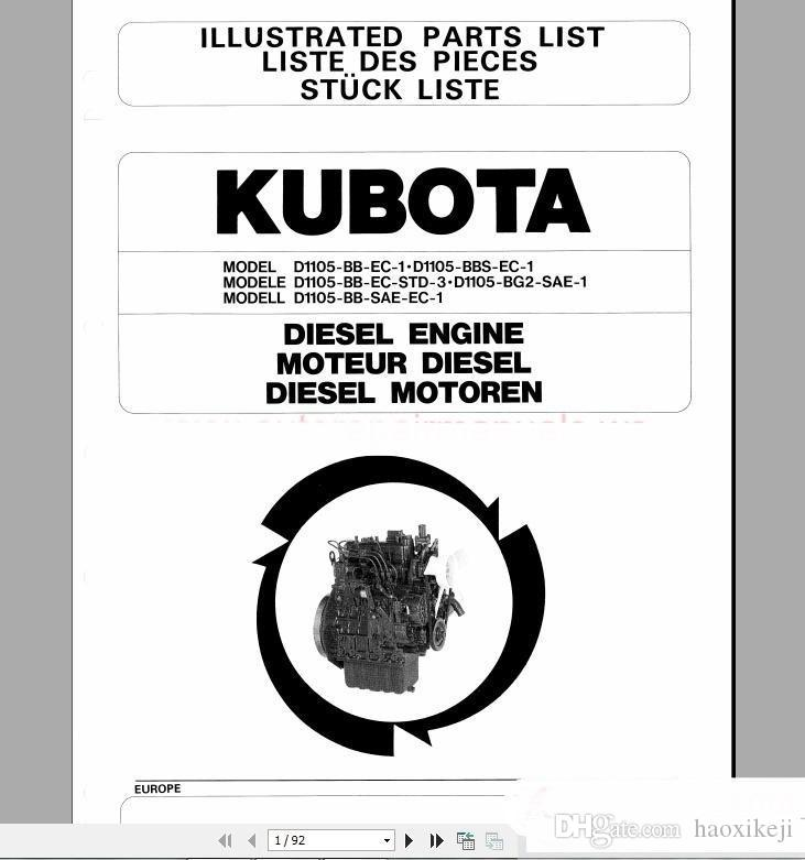 Kubota engines shop manual & parts catalog disco diagnostic tool.