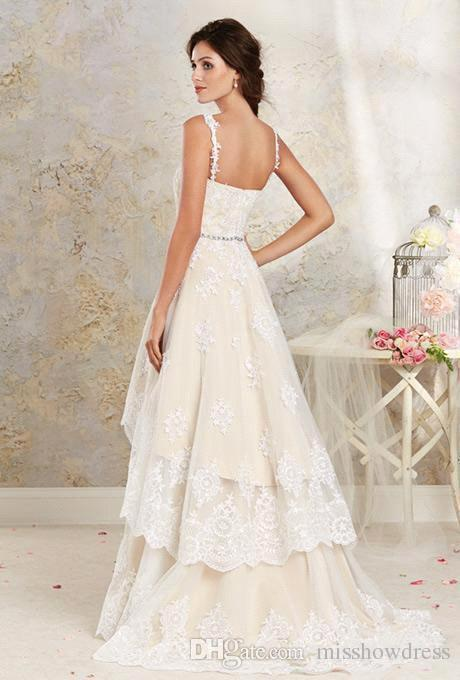 Removable Skirt Lace A Line Wedding Dresses Spaghetti Straps Applique High Low Country Summer Beach Wedding Bridal Gowns BA1855