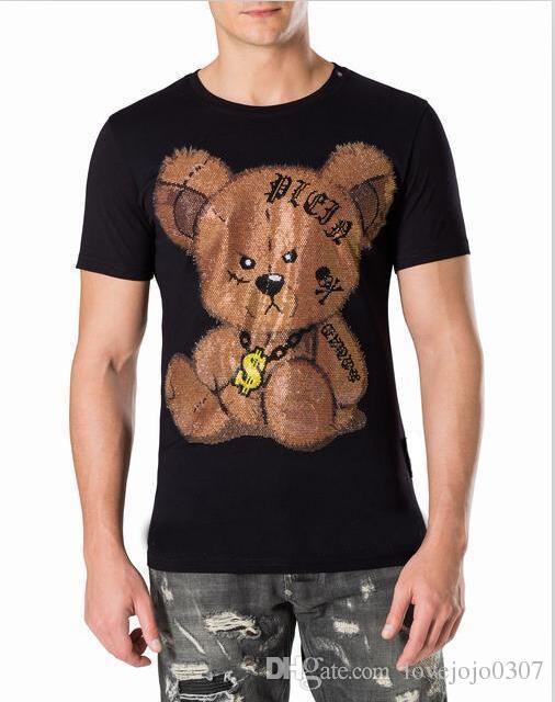 Mens High Fashion Cartoon Bär gedruckt Marke Designer 2018 Diamant T-Shirt Ring Schädel $ lustige T-Shirts Männer Casual Perlen T-Shirt Männer D30