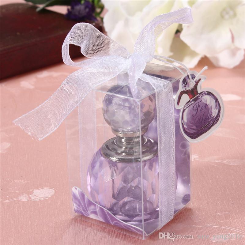 1ml Mini Crystal Perfume Bottle Empty Sample Perfume Cosmetic Container Women Wedding Decor Gift Pink Purple wen5870
