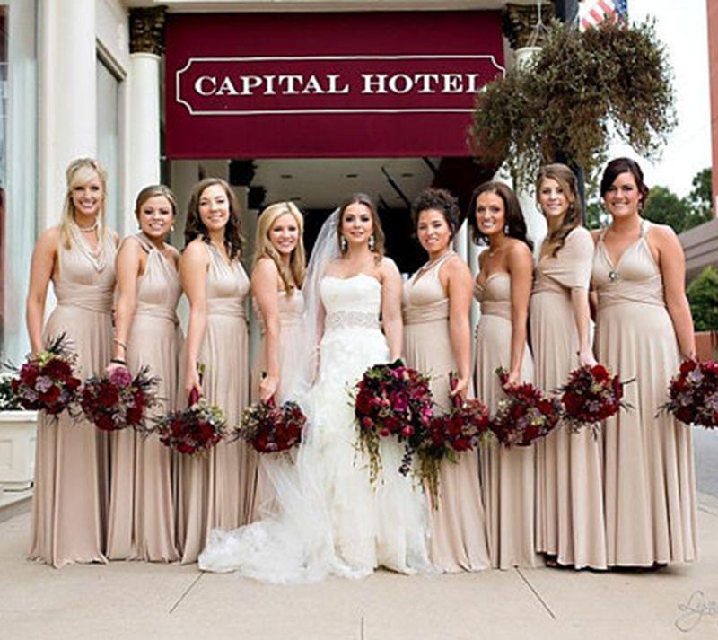 Hot Sale Beige Infinity Bridesmaid Dresses Plus Size Long Prom ...