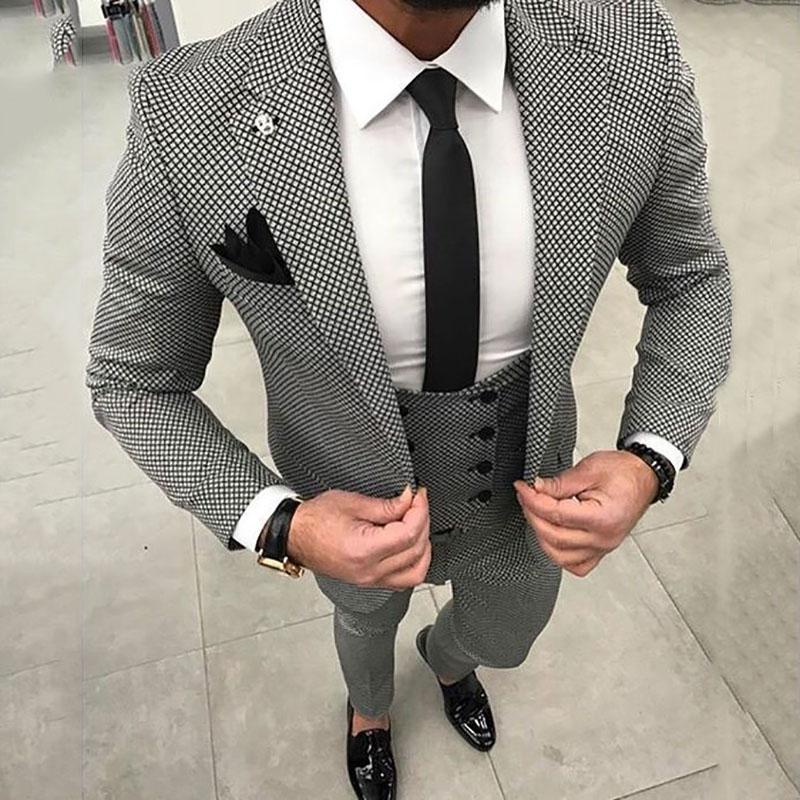 9982dcd4187 2018 Black And White Damier Check Men Suit for Business Wedding ...