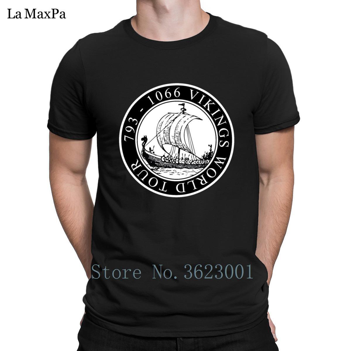 Compre Impressão Magro Dos Homens T Shirt Roupas Vikings World Tour Navio T  Shirt Clássico Quirky Tshirt Homem Tripulação Pescoço Camiseta Hiphop Top  De ... 42c48f287dc87