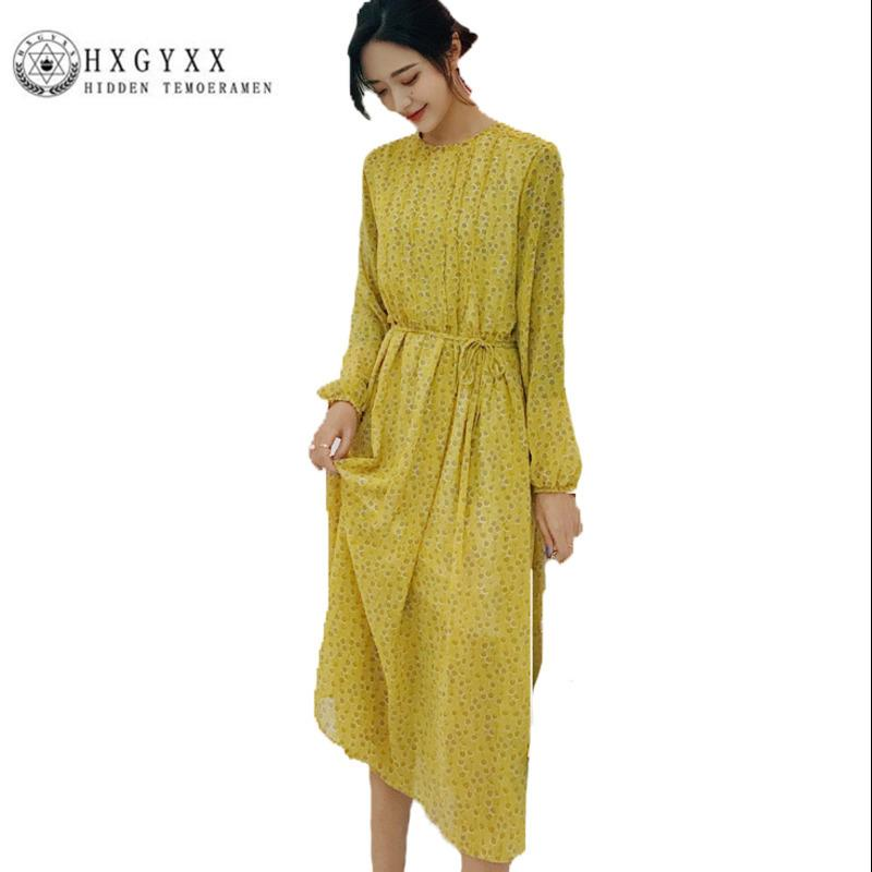 e411d02b88 Compre 2018 Gasa Coreana Fresca Dulce Suelta Primavera Verano Vestidos  Casual Elegante Imprimir Largo Vestido De Playa Amarillo Vestido De Mujer  P005 A ...