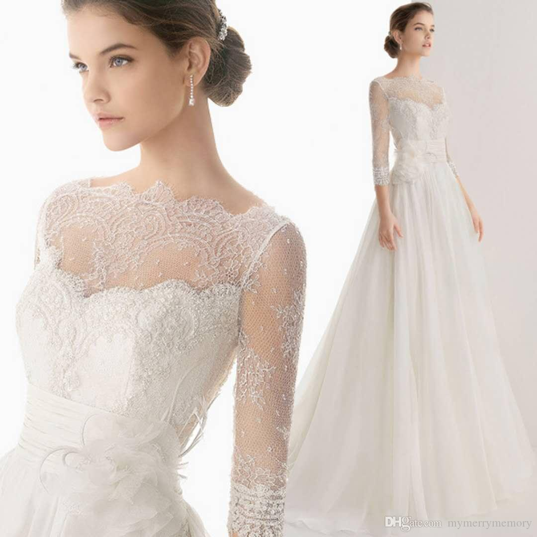 A Line 3/4 Sleeves Lace Fabric Bridal Gown Empire Waist Wedding ...