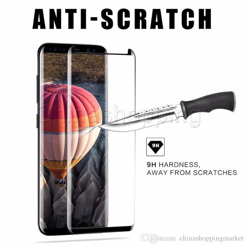 Cas 3D bienvenus courbe en verre trempé avec écran protecteur pour S20 Ultra S10 S9 S8 plus Note 20 10 9 8 Écran de surface Couverture avec Forfait