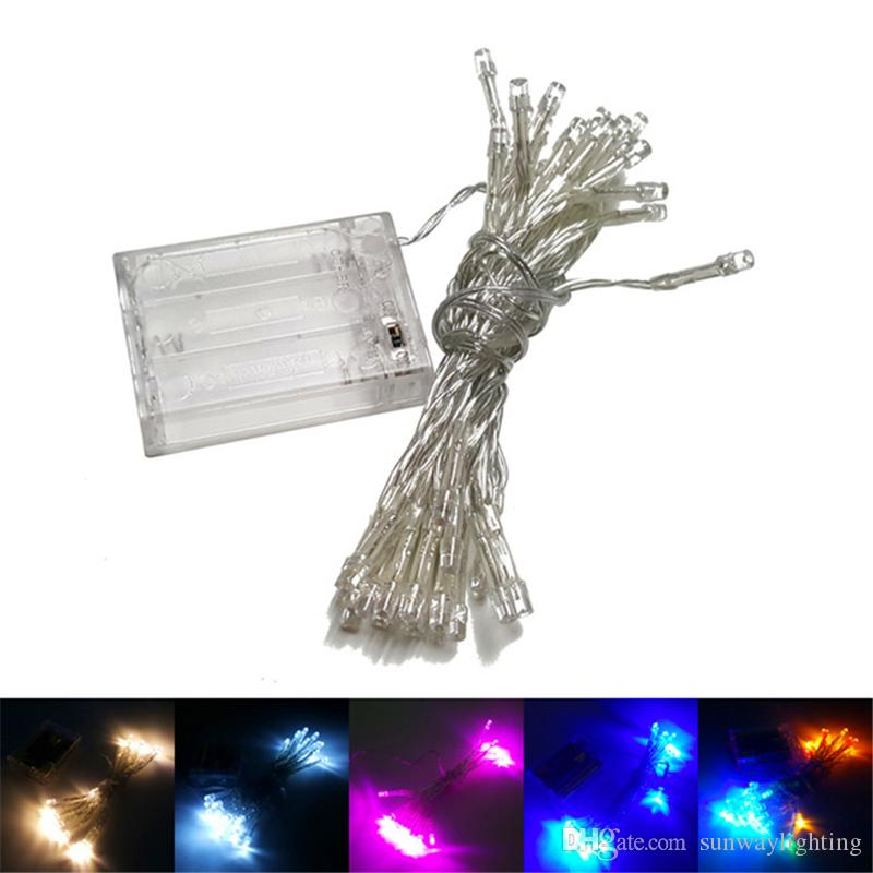 led string light battery powered 4m 40 lights flash light christmas party fairy wedding lamps party decoration lighting 9 colours holiday outdoor string of
