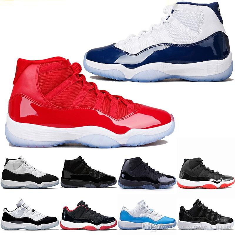 8682a4ef6ba4c9 Cheap Men 11 11s Basketball Shoes Cap And Gown Gamma Blue Iridescent Gym  Red UNC Concord Bred Barons Trainer Sport Sneakers Size 36 47 Online Shoes  Cheap ...