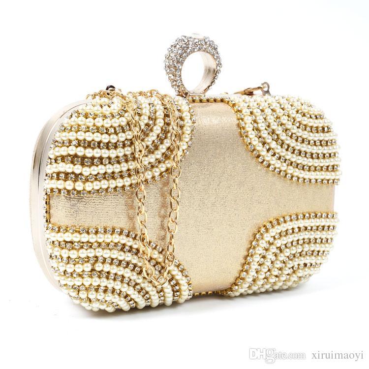 Moda Encantador Anillo rhinestone bolso de las mujeres bolsos de noche de embrague de oro caso de los cosméticos pequeño bolso monedero para la boda / fiesta / diner