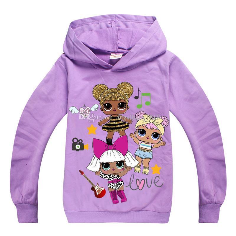 low priced c9fb4 d9d7c Mädchen Hoodie Sweatshirt Cartoon Anime Puppe Muster Baumwolle Kapuzenpulli  für 4-12 Jahre Mädchen Kinder Kinder weiche Oberbekleidung Kleidung