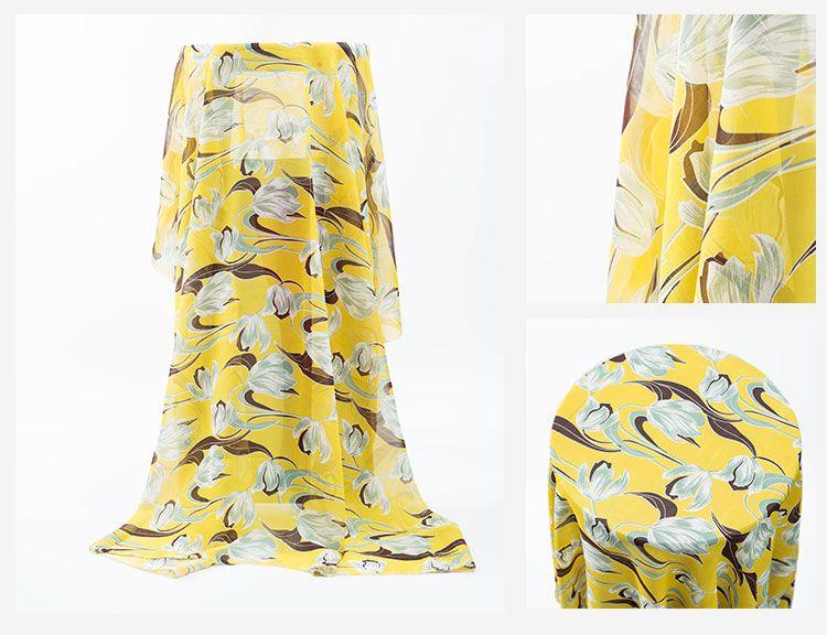 Großhandel 150 cm 75D Kleine Blumendruck Chiffon Print Georgette Frühling / Sommer Kleid Breitbein Kittel Stoff